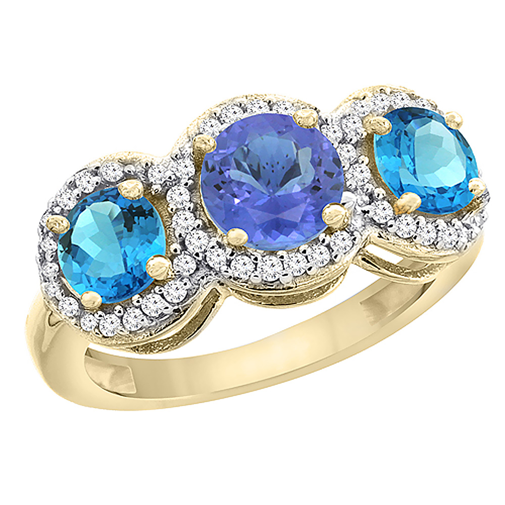 14K Yellow Gold Natural Tanzanite & Swiss Blue Topaz Sides Round 3-stone Ring Diamond Accents, sizes 5 - 10