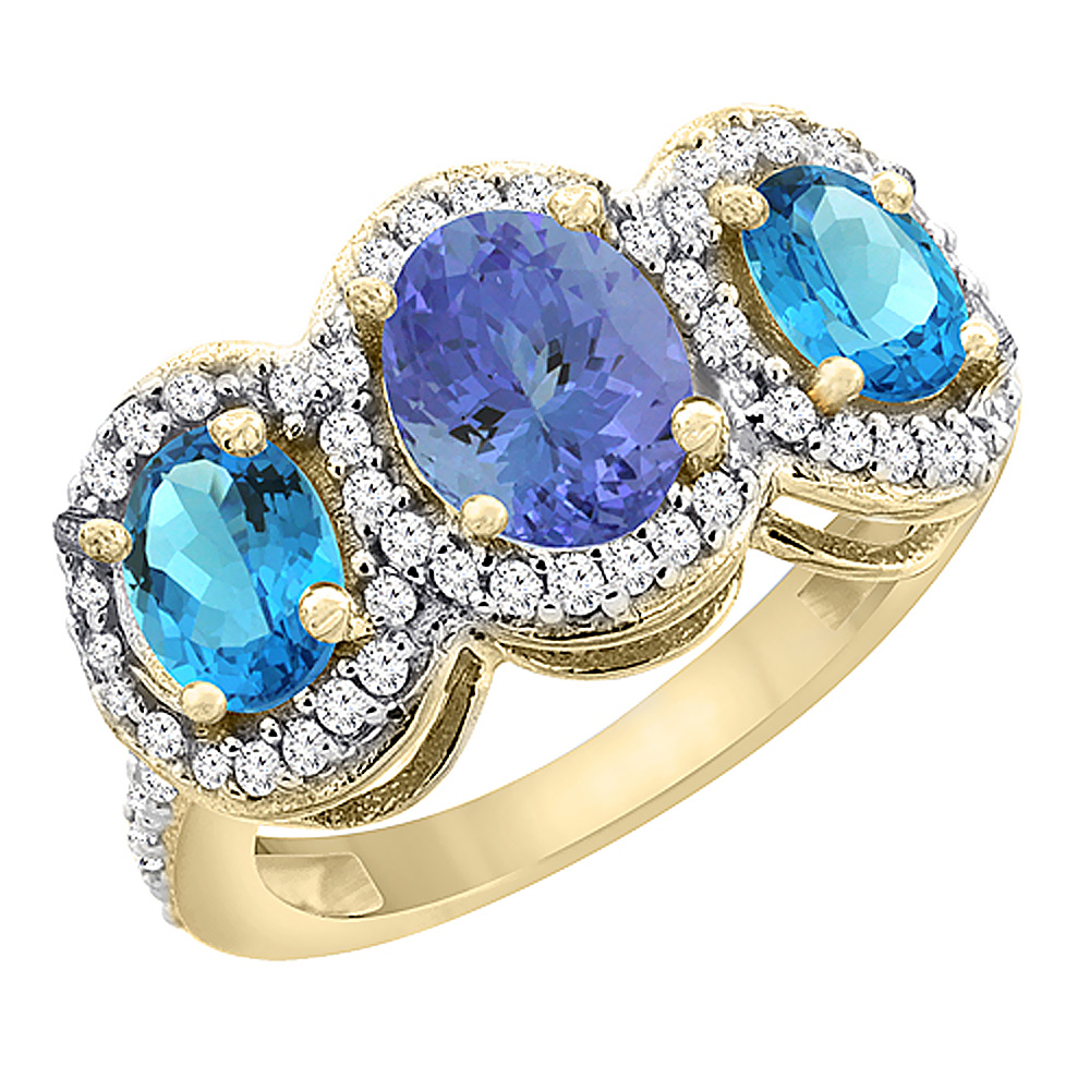 14K Yellow Gold Natural Tanzanite & Swiss Blue Topaz 3-Stone Ring Oval Diamond Accent, sizes 5 - 10