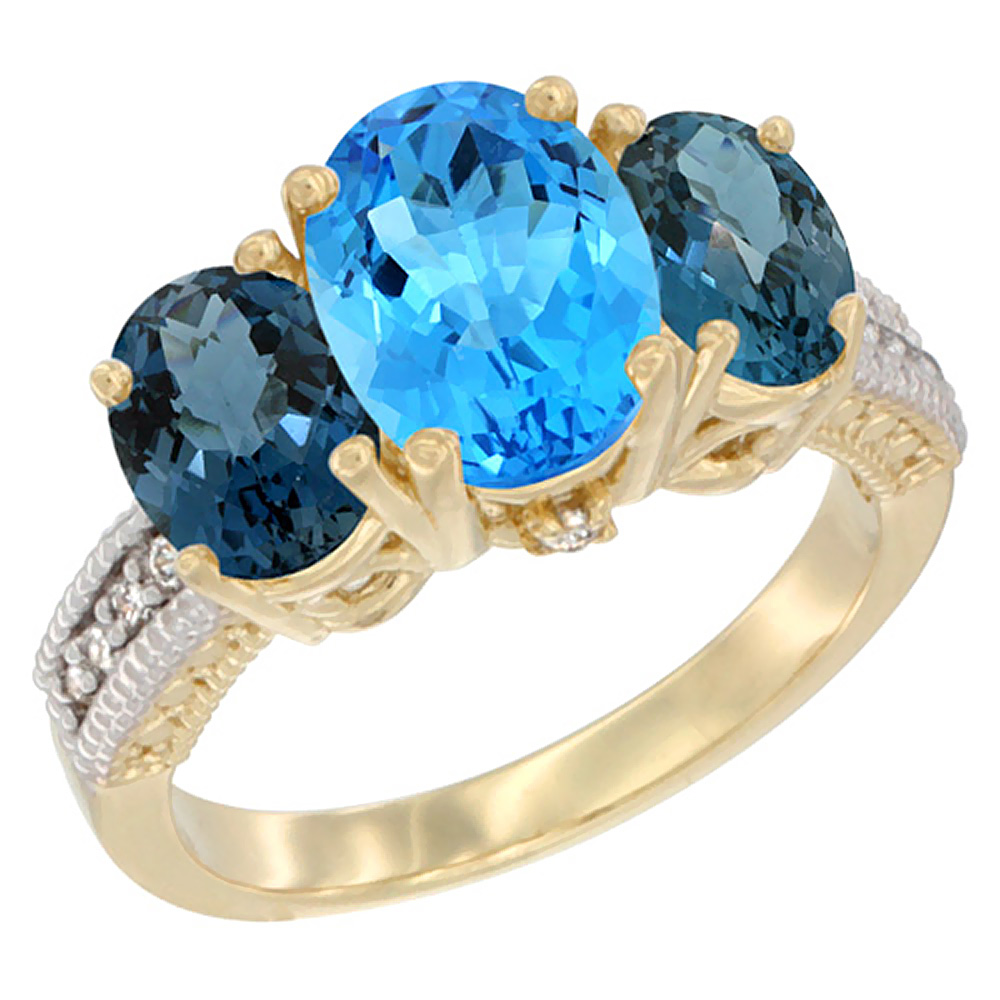 14K Yellow Gold Natural Swiss Blue Topaz Ring Ladies 3-Stone Oval 8x6mm with London Blue Topaz Sides Diamond Accent, sizes 5 - 1