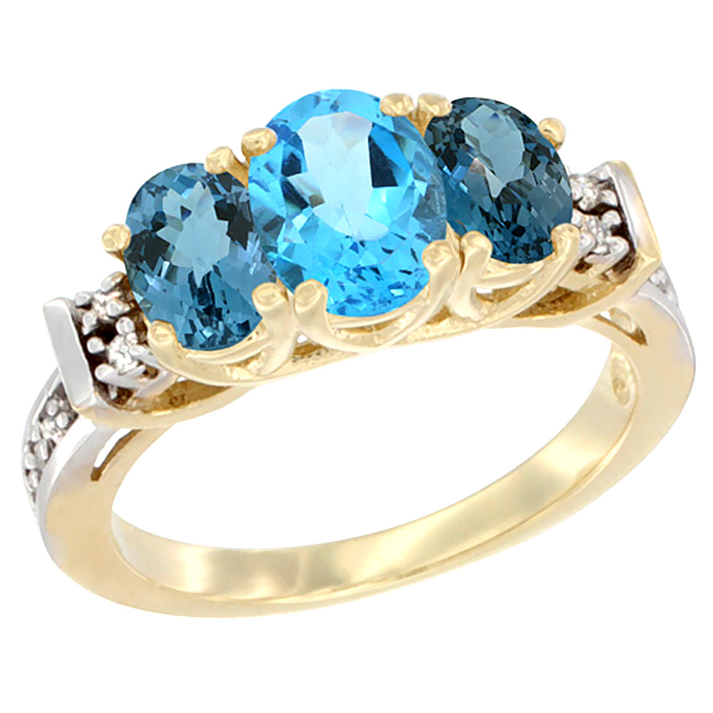 14K Yellow Gold Natural Swiss Blue Topaz & London Blue Ring 3-Stone Oval Diamond Accent
