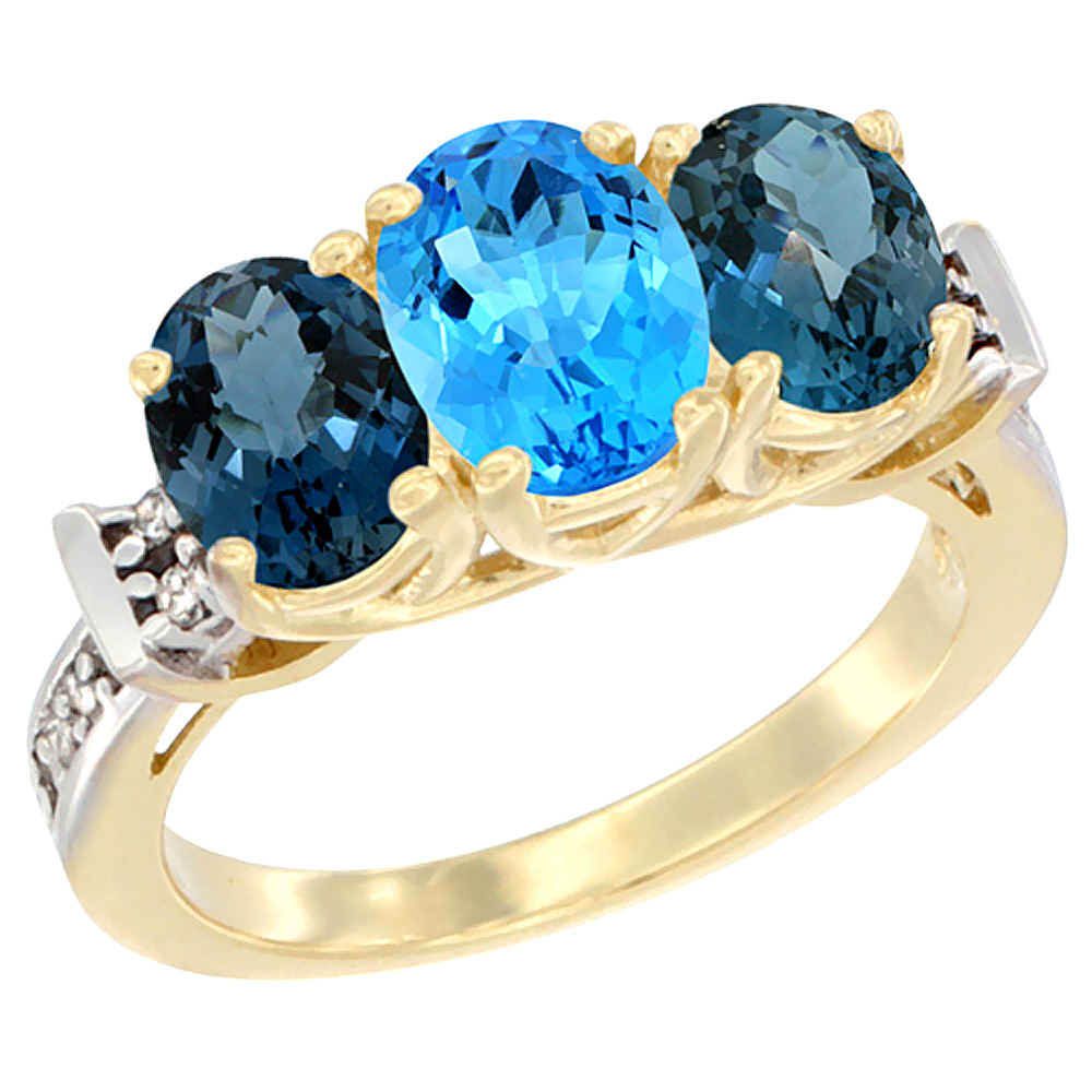 14K Yellow Gold Natural Swiss Blue Topaz & London Blue Topaz Sides Ring 3-Stone Oval Diamond Accent, sizes 5 - 10