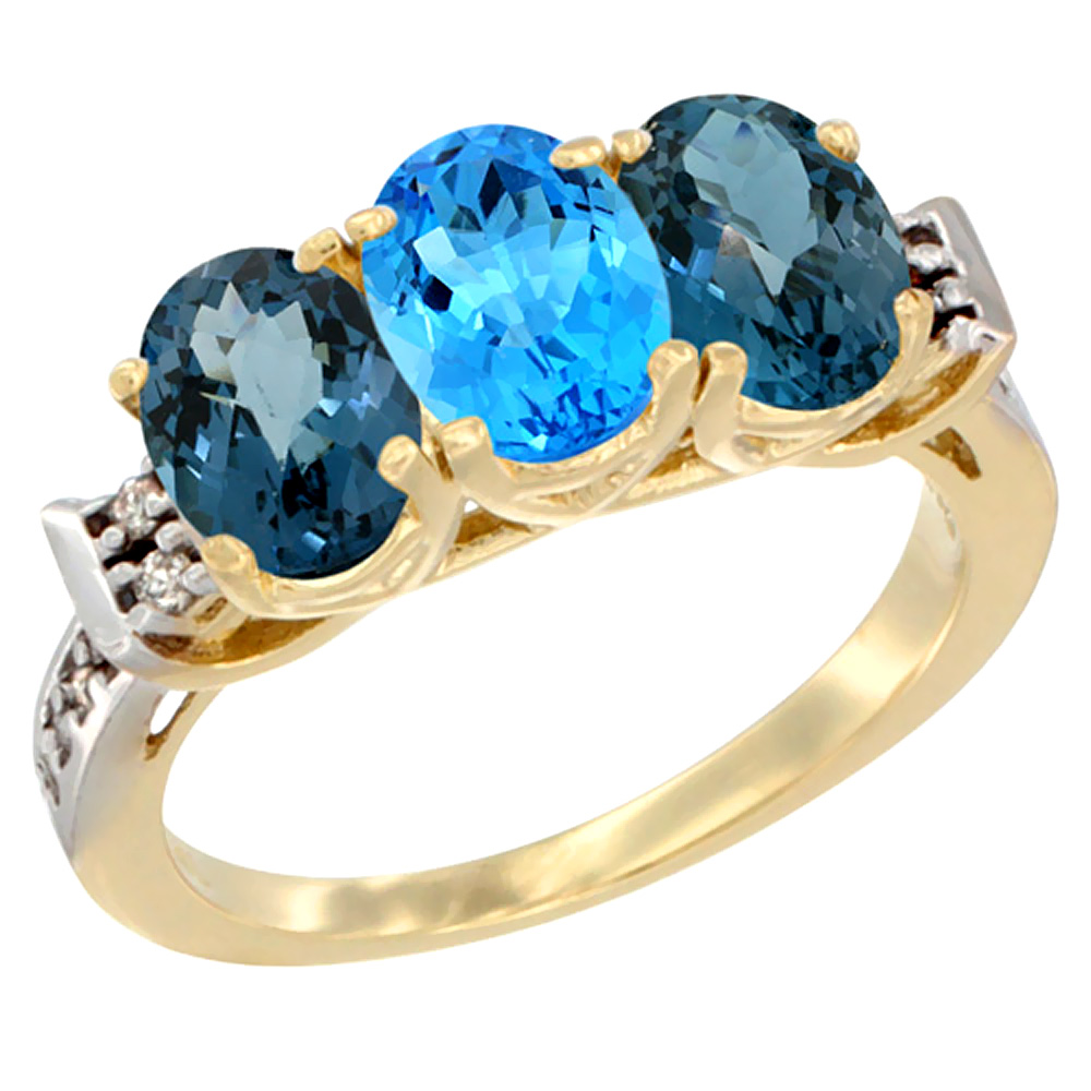 14K Yellow Gold Natural Swiss Blue Topaz & London Blue Topaz Sides Ring 3-Stone 7x5 mm Oval Diamond Accent, sizes 5 - 10