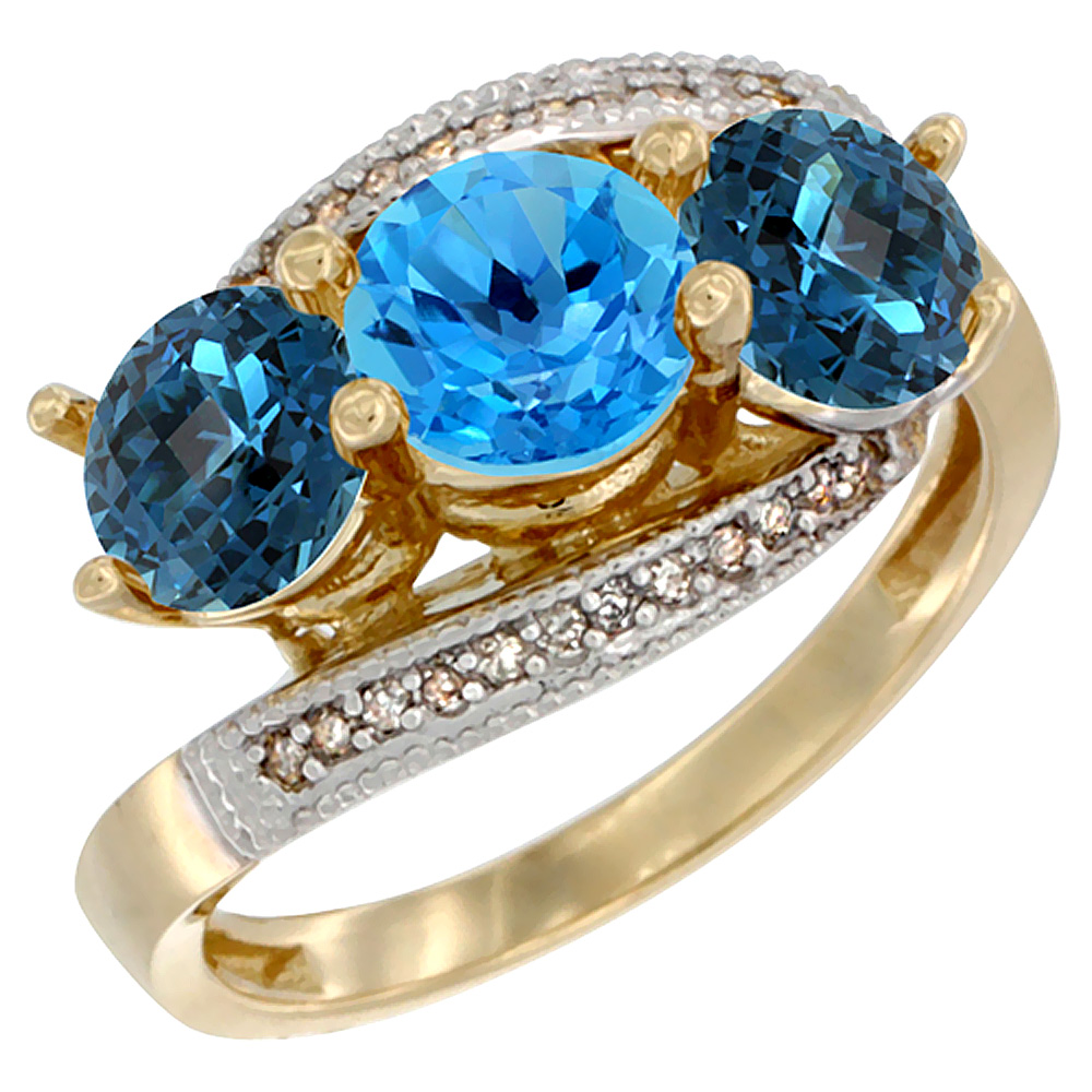 14K Yellow Gold Natural Swiss Blue Topaz & London Blue Topaz Sides 3 stone Ring Round 6mm Diamond Accent, sizes 5 - 10