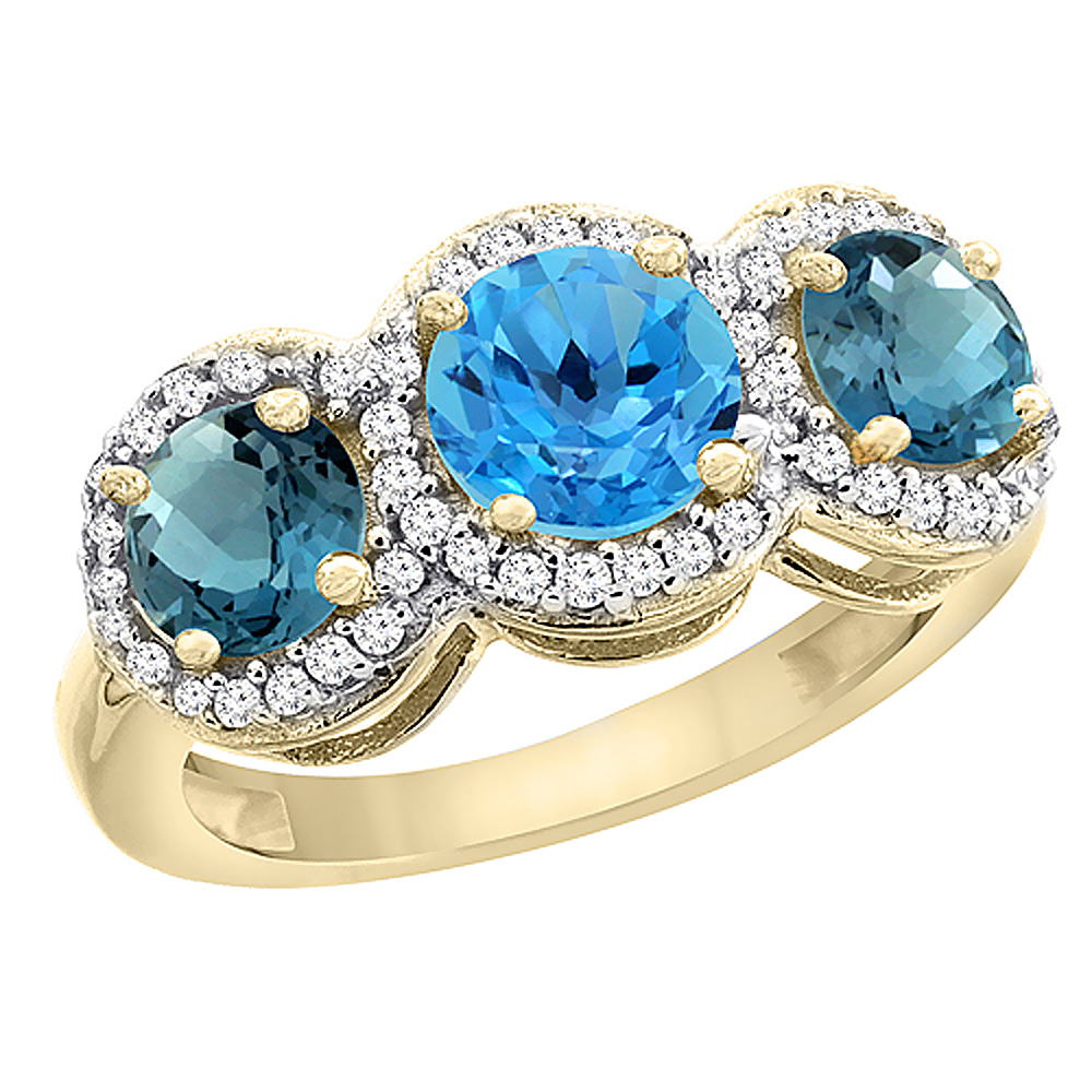 14K Yellow Gold Natural Swiss Blue Topaz & London Blue Topaz Sides Round 3-stone Ring Diamond Accents, sizes 5 - 10