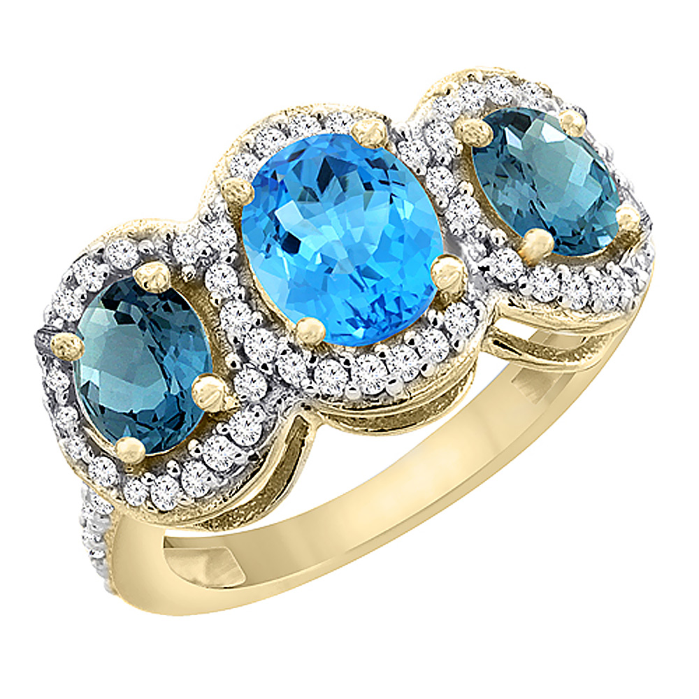 14K Yellow Gold Natural Swiss Blue Topaz & London Blue Topaz 3-Stone Ring Oval Diamond Accent, sizes 5 - 10