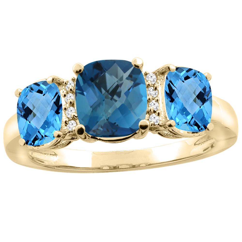 14K Yellow Gold Natural London Blue Topaz & Swiss Blue Topaz 3-stone Ring Cushion 8x6mm Diamond Accent, sizes 5 - 10