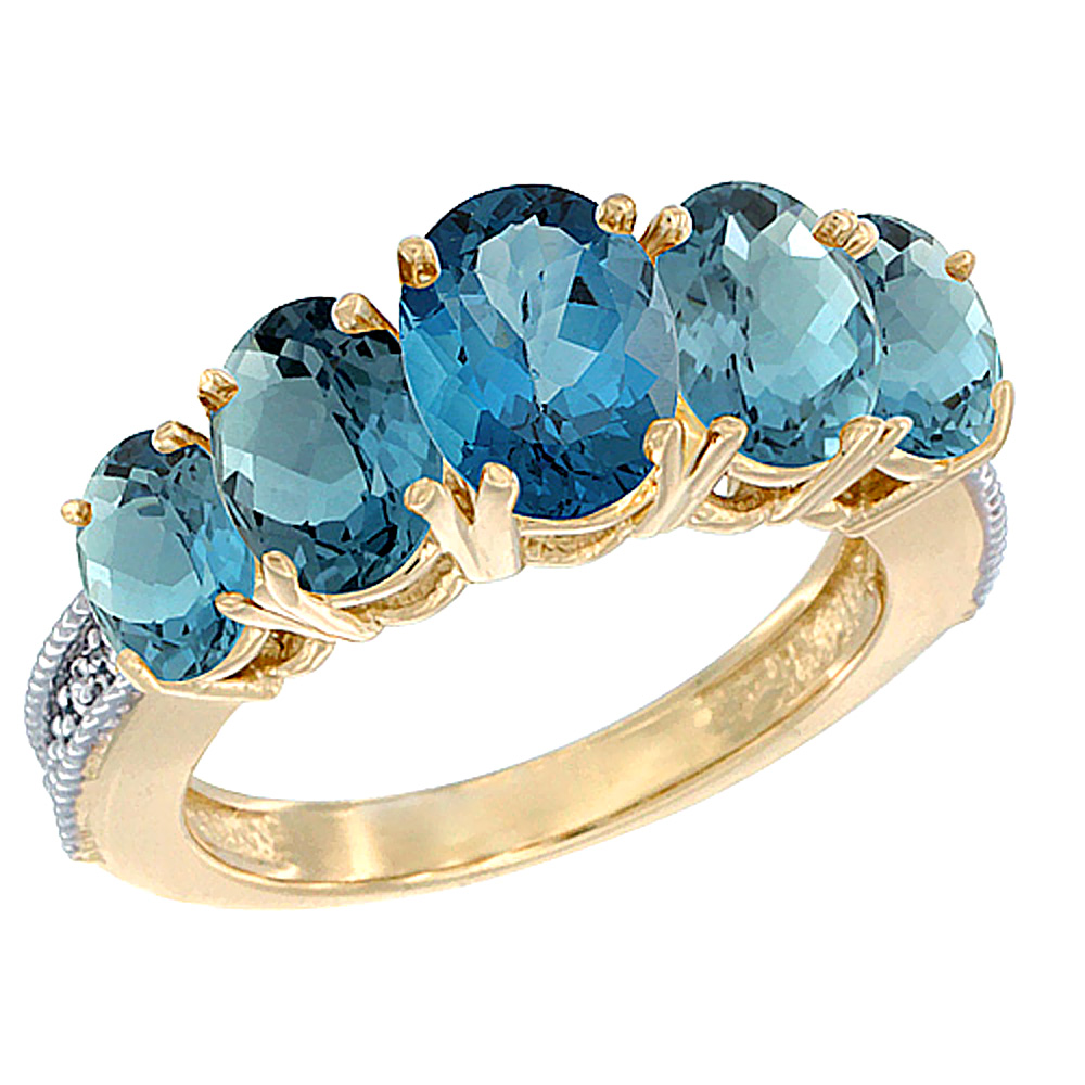 14K Yellow Gold Diamond Natural London Blue Topaz Ring 5-stone Oval 8x6 Ctr,7x5,6x4 sides, sizes 5 - 10