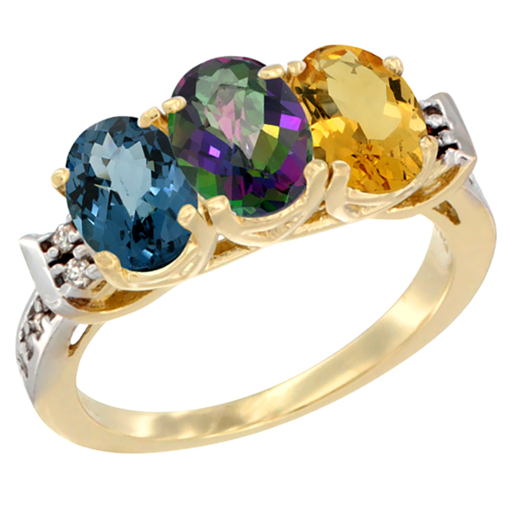 14K Yellow Gold Natural London Blue Topaz, Mystic Topaz & Citrine Ring 3-Stone 7x5 mm Oval Diamond Accent, sizes 5 - 10