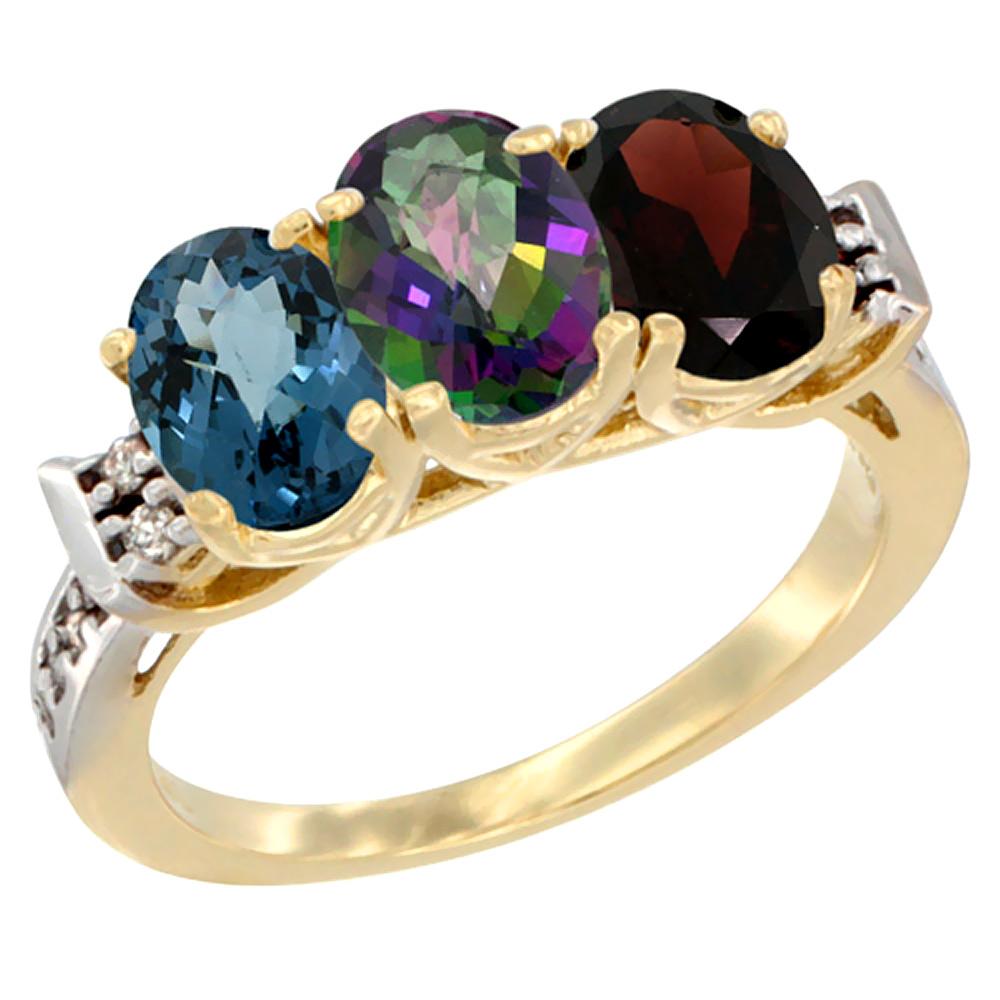 14K Yellow Gold Natural London Blue Topaz, Mystic Topaz & Garnet Ring 3-Stone 7x5 mm Oval Diamond Accent, sizes 5 - 10