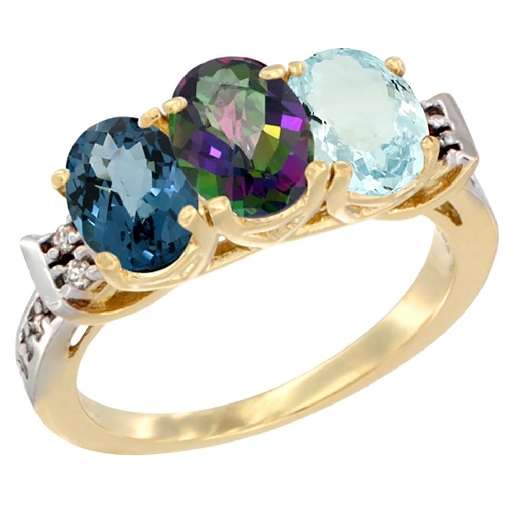 14K Yellow Gold Natural London Blue Topaz, Mystic Topaz & Aquamarine Ring 3-Stone 7x5 mm Oval Diamond Accent, sizes 5 - 10