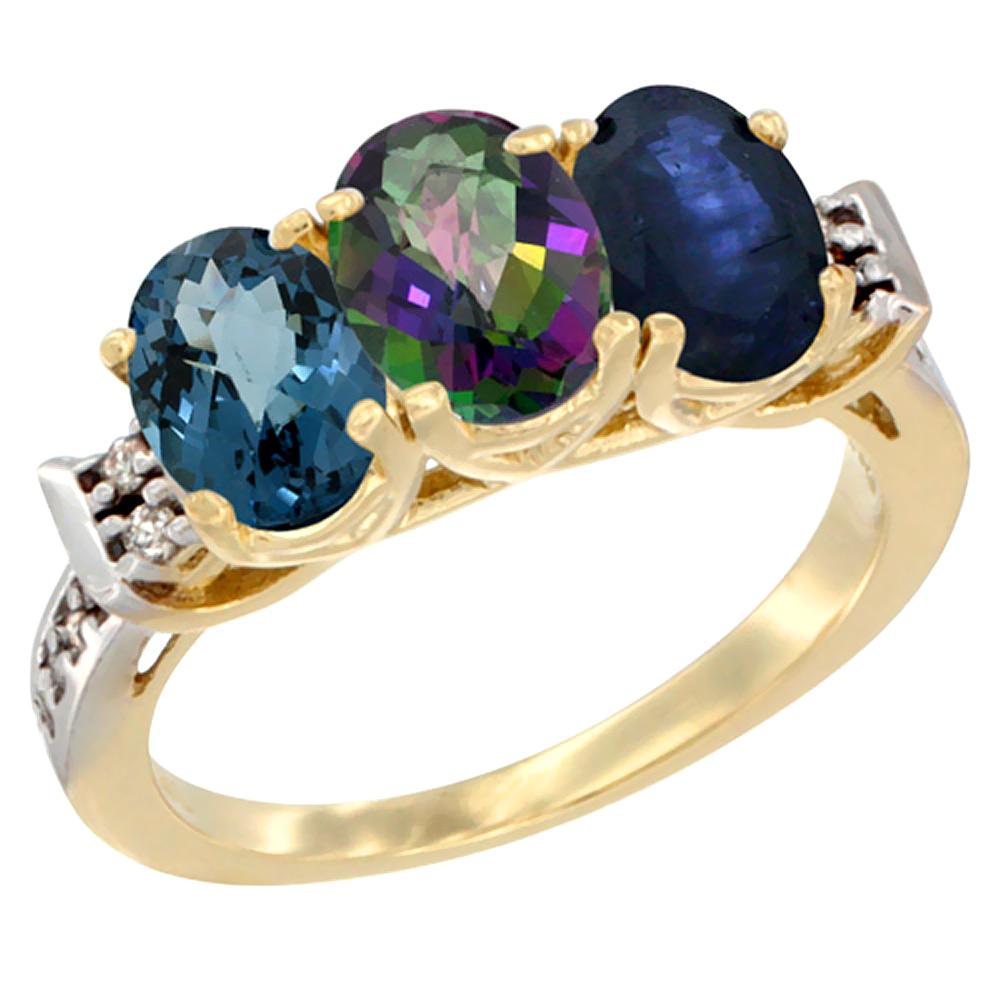 14K Yellow Gold Natural London Blue Topaz, Mystic Topaz & Blue Sapphire Ring 3-Stone 7x5 mm Oval Diamond Accent, sizes 5 - 10