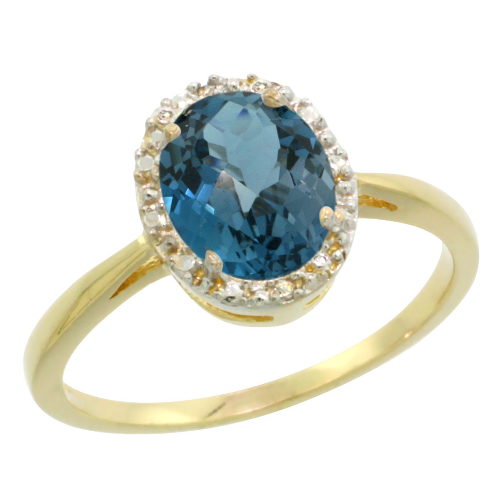 10K Yellow Gold Natural London Blue Topaz Diamond Halo Ring Oval 8X6mm, sizes 5 - 10