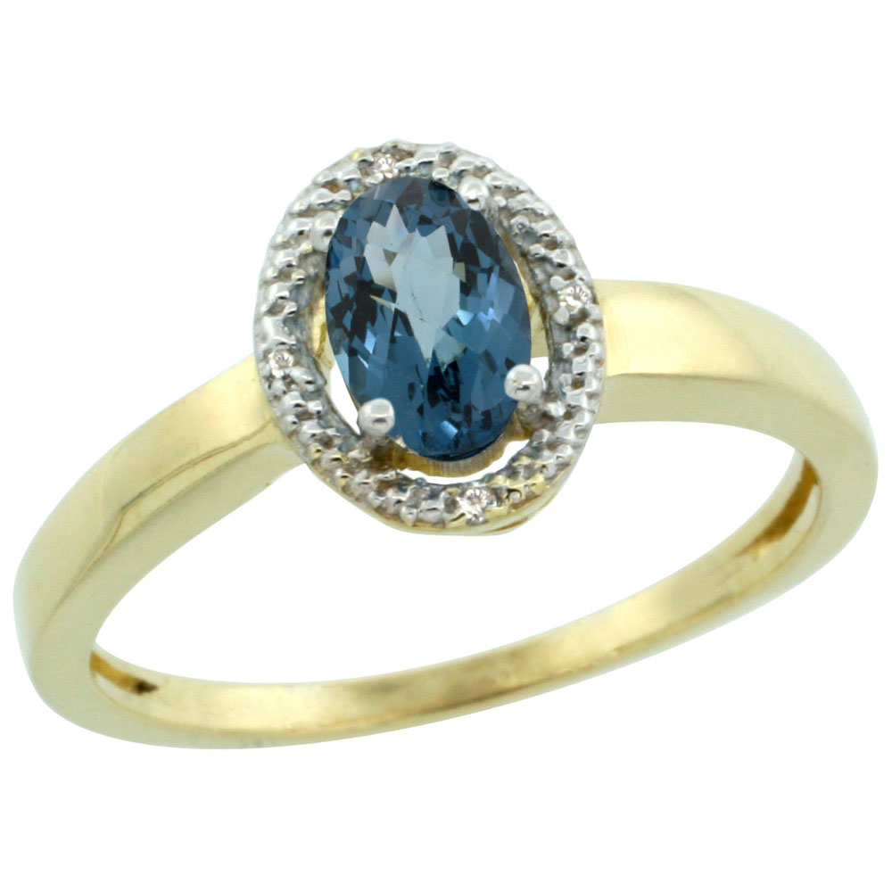 10K Yellow Gold Diamond Halo Natural London Blue Topaz Engagement Ring Oval 6X4 mm, sizes 5-10