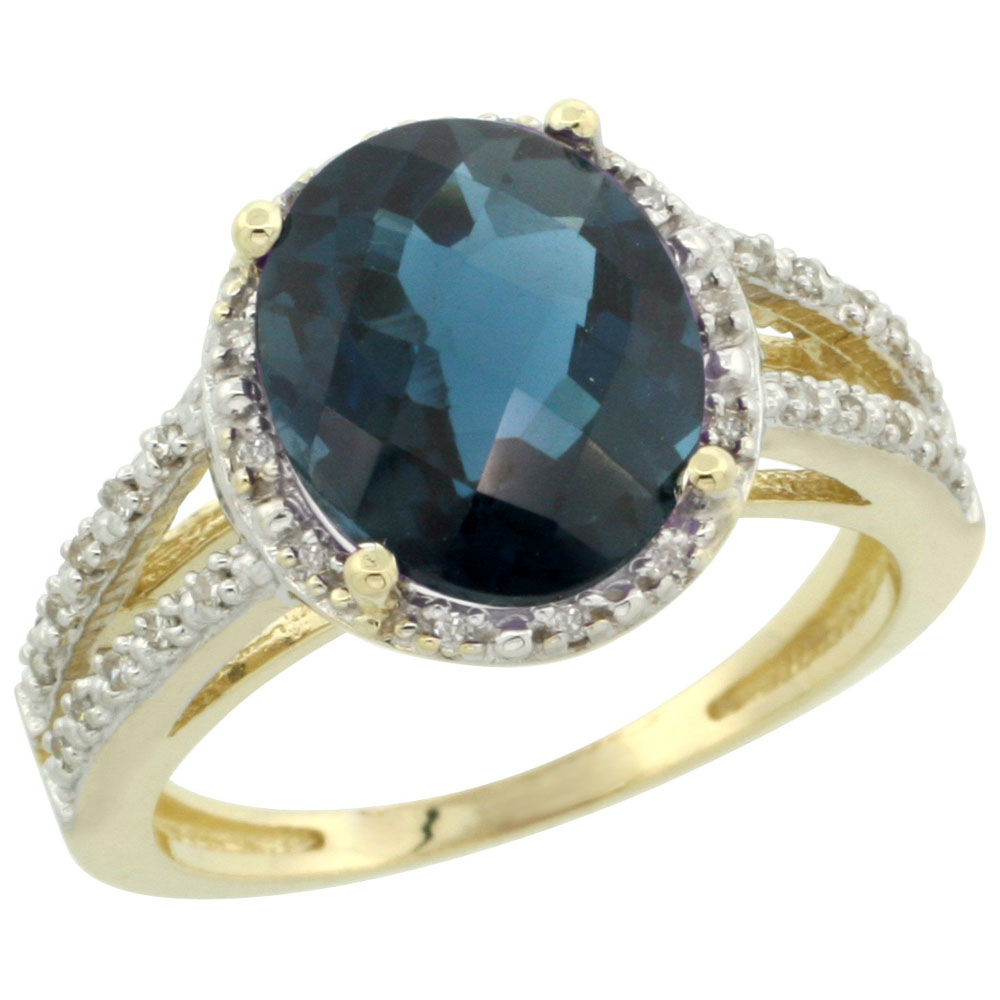10K Yellow Gold Diamond Natural London Blue Topaz Ring Oval 11x9mm, sizes 5-10
