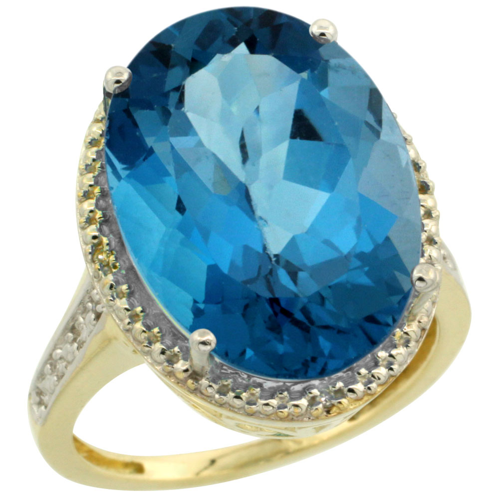 14K Yellow Gold Diamond Natural London Blue Topaz Ring Oval 18x13mm, sizes 5-10