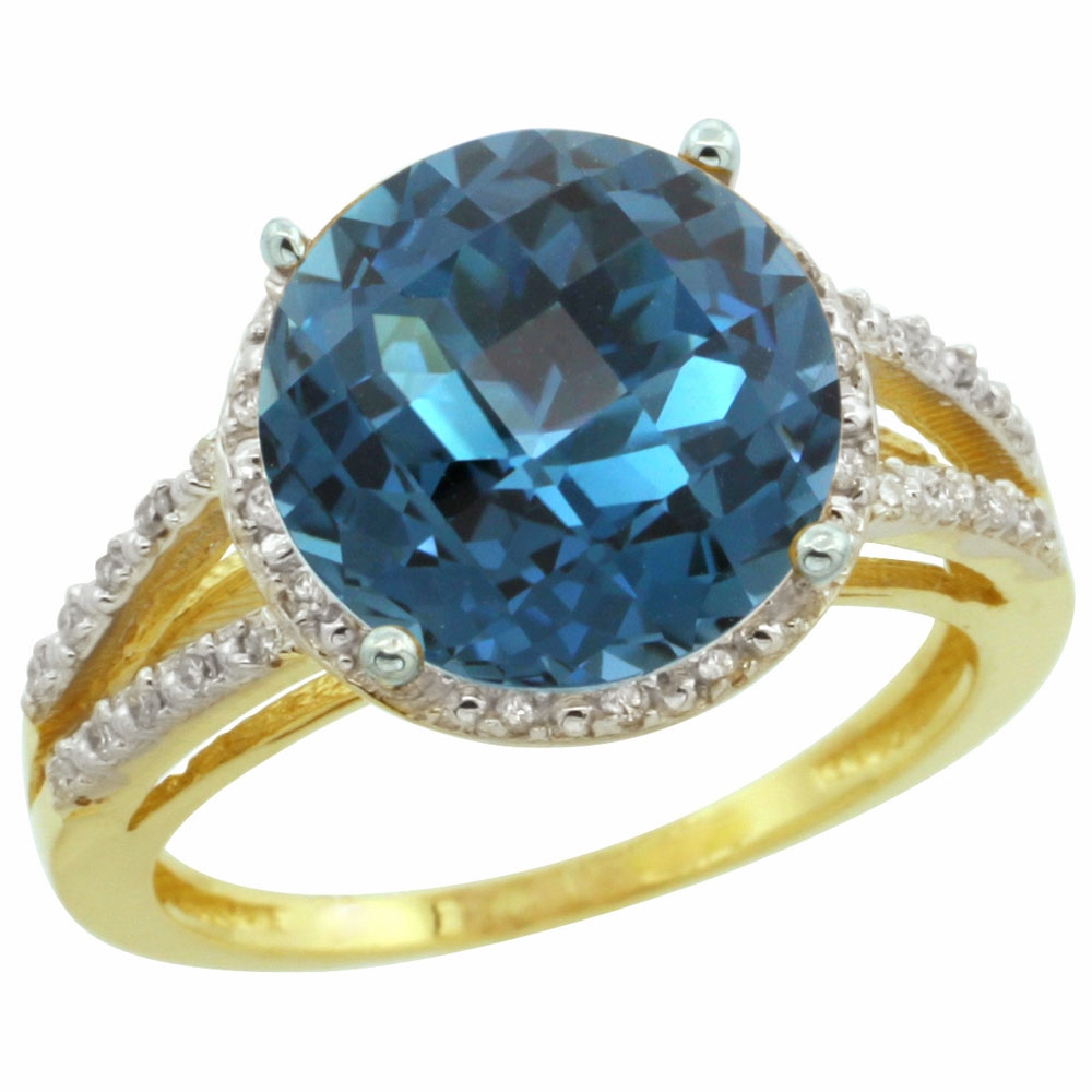 14K Yellow Gold Diamond Natural London Blue Topaz Ring Round 11mm, sizes 5-10
