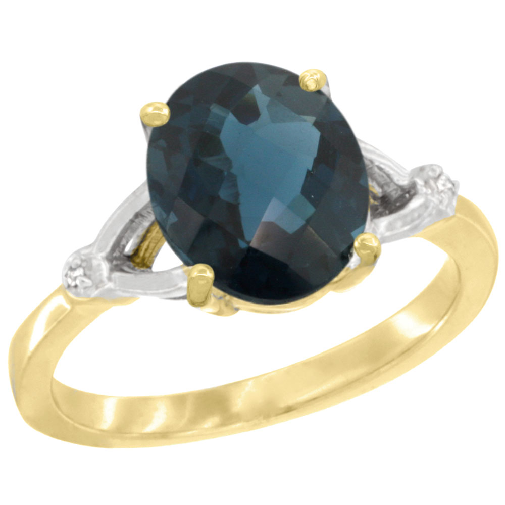 14K Yellow Gold Diamond Natural London Blue Topaz Engagement Ring Oval 10x8mm, sizes 5-10