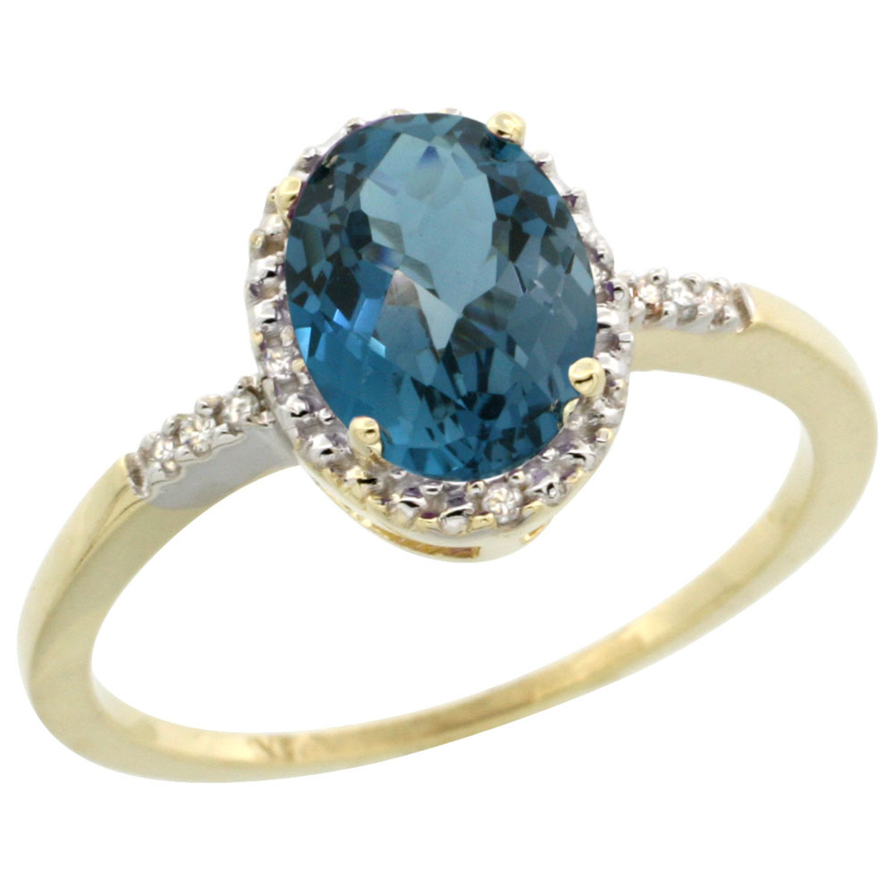 14K Yellow Gold Diamond Natural London Blue Topaz Ring Oval 8x6mm, sizes 5-10