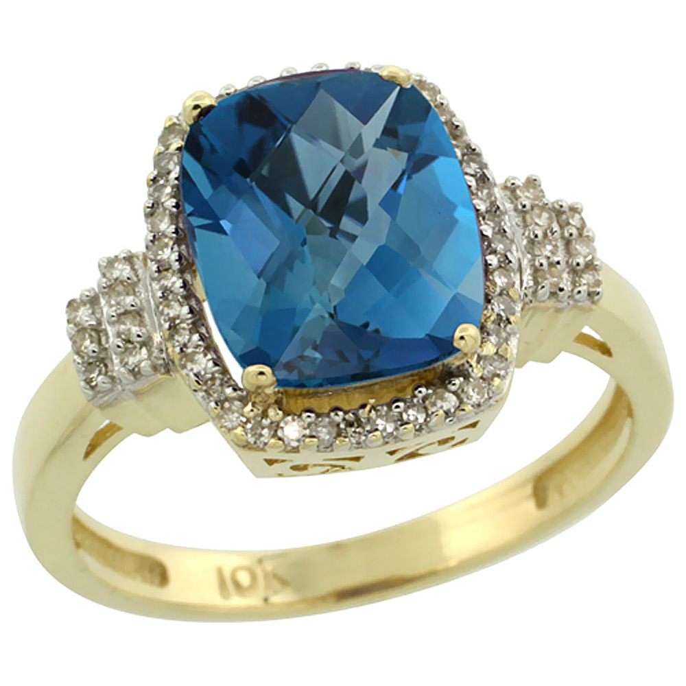 10k Yellow Gold Natural London Blue Topaz Ring Cushion-cut 9x7mm Diamond Halo, sizes 5-10