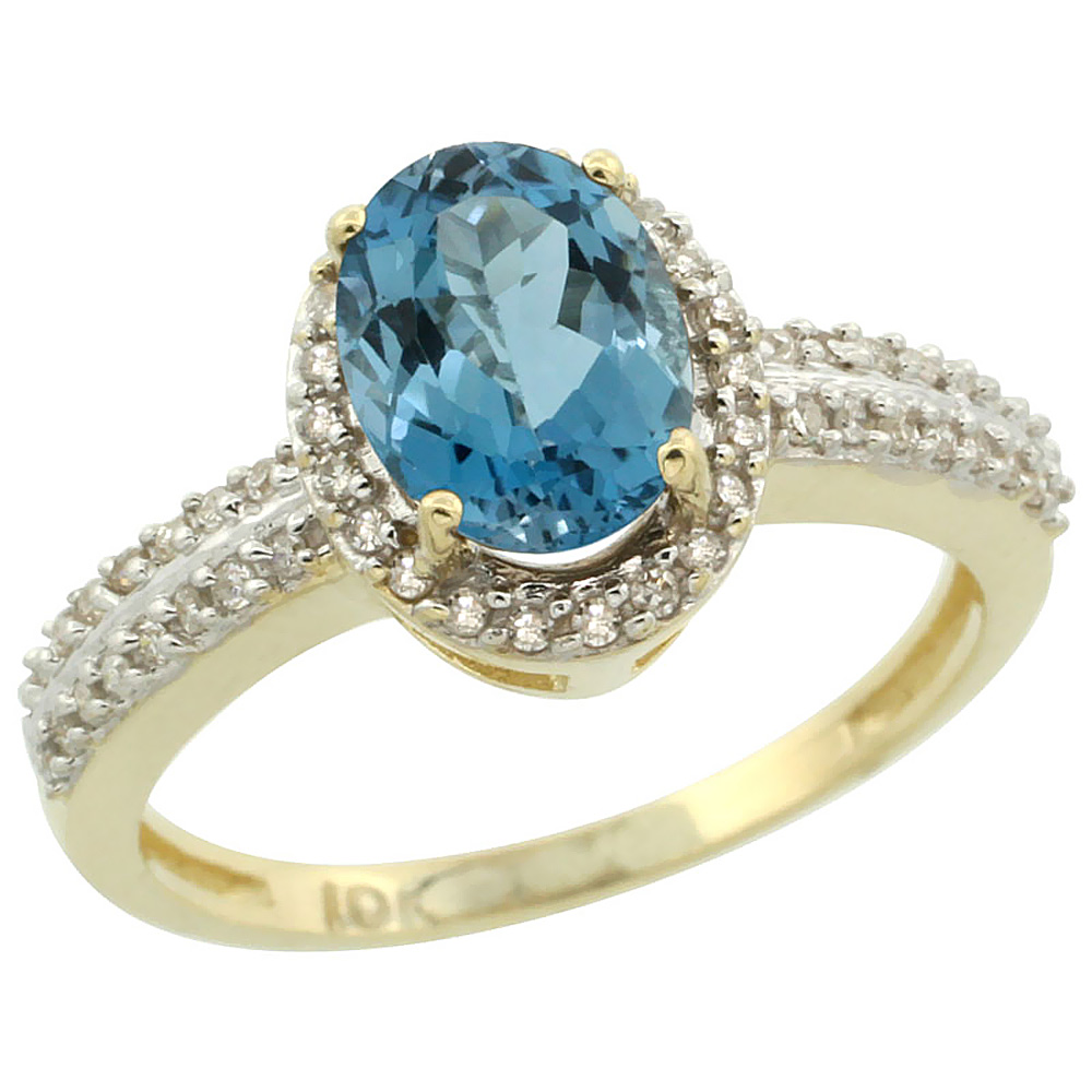 14K Yellow Gold Natural London Blue Topaz Ring Oval 8x6mm Diamond Halo, sizes 5-10