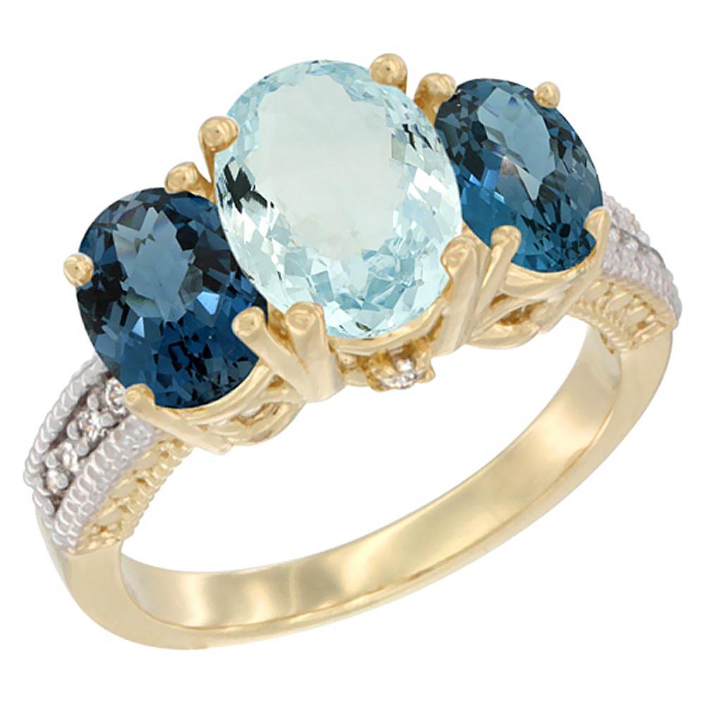 14K Yellow Gold Diamond Natural Aquamarine Ring 3-Stone Oval 8x6mm with London Blue Topaz, sizes5-10