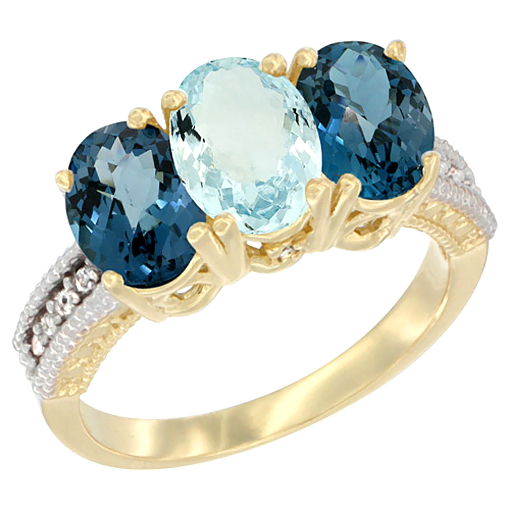 14K Yellow Gold Natural Aquamarine & London Blue Topaz Sides Ring 3-Stone 7x5 mm Oval Diamond Accent, sizes 5 - 10