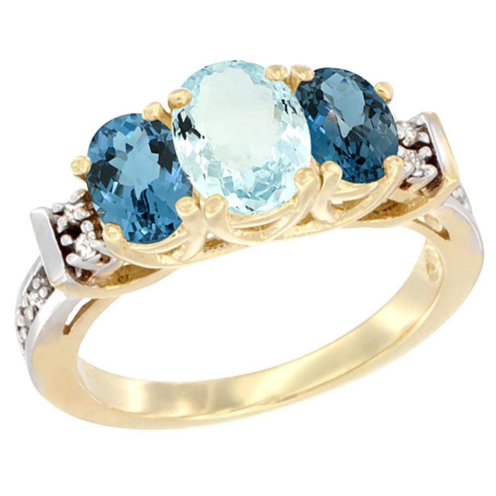 14K Yellow Gold Natural Aquamarine & London Blue Ring 3-Stone Oval Diamond Accent