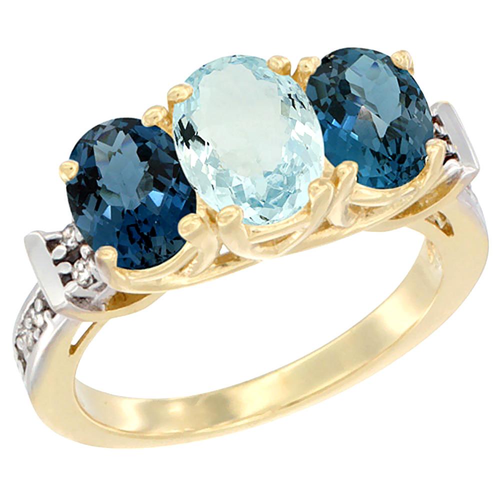 14K Yellow Gold Natural Aquamarine & London Blue Topaz Sides Ring 3-Stone Oval Diamond Accent, sizes 5 - 10