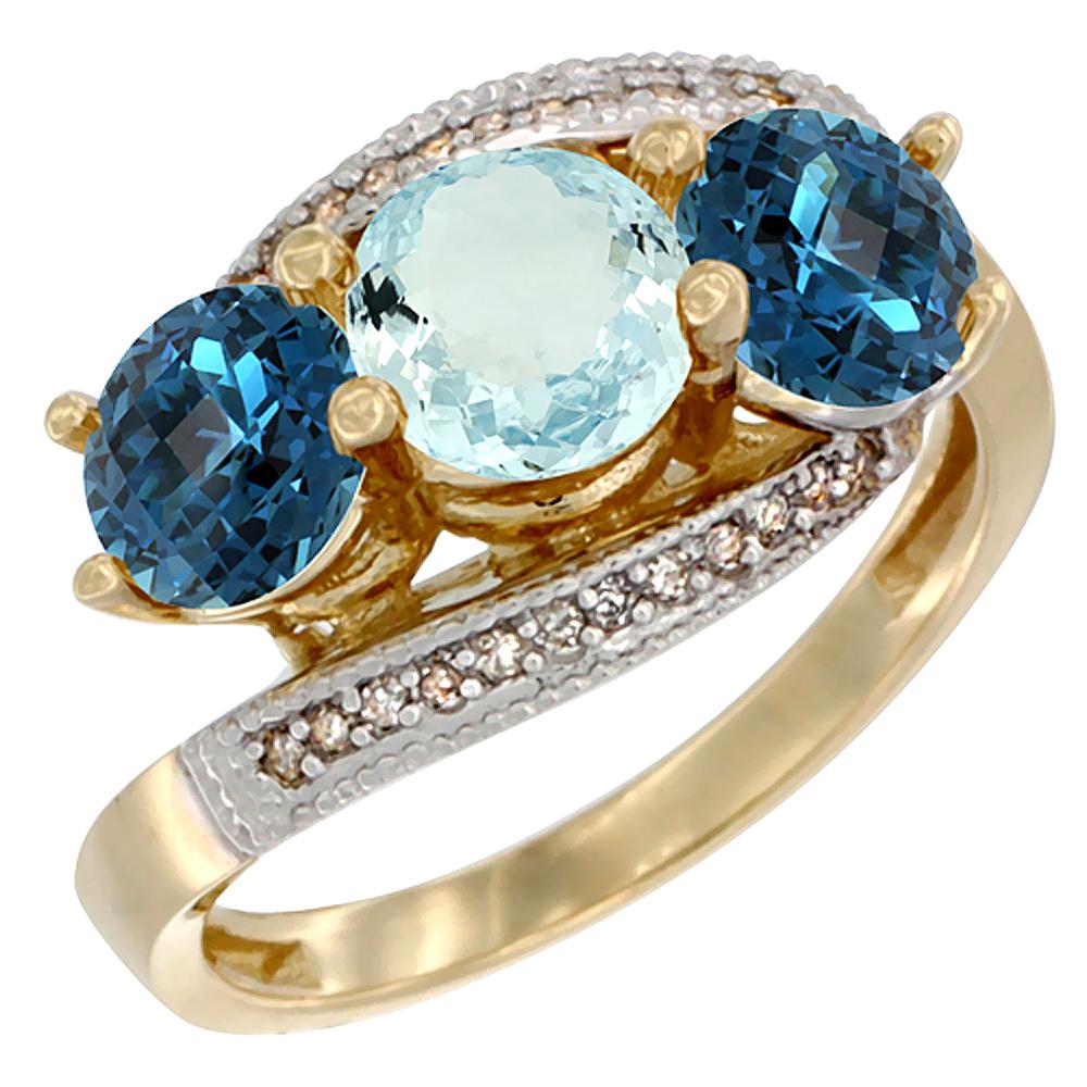 14K Yellow Gold Natural Aquamarine & London Blue Topaz Sides 3 stone Ring Round 6mm Diamond Accent, sizes 5 - 10