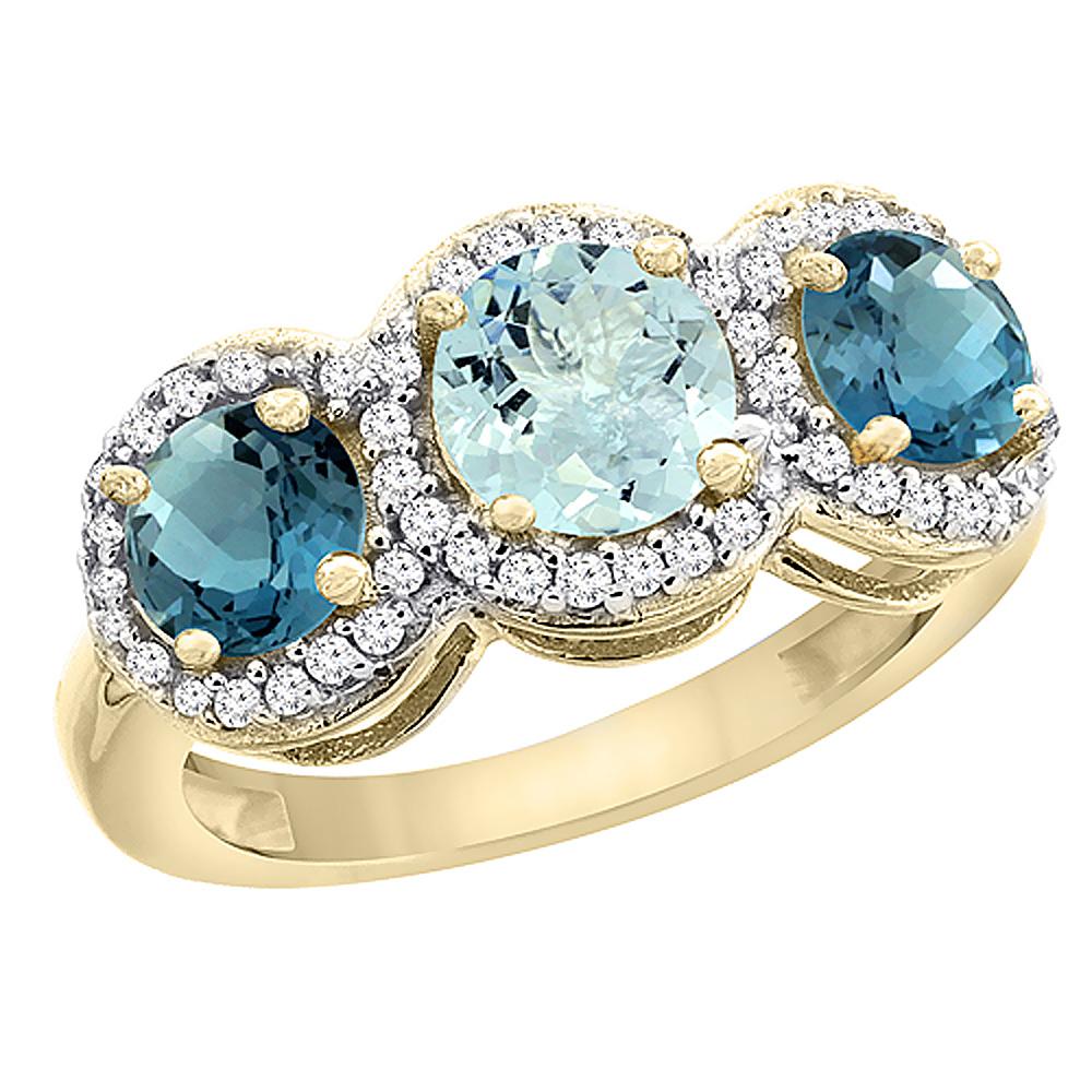 14K Yellow Gold Natural Aquamarine & London Blue Topaz Sides Round 3-stone Ring Diamond Accents, sizes 5 - 10