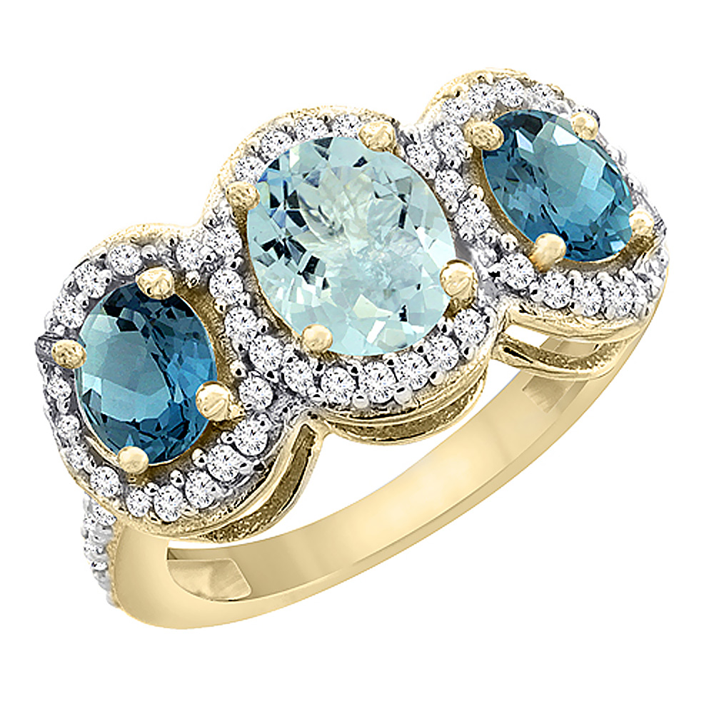 14K Yellow Gold Natural Aquamarine & London Blue Topaz 3-Stone Ring Oval Diamond Accent, sizes 5 - 10