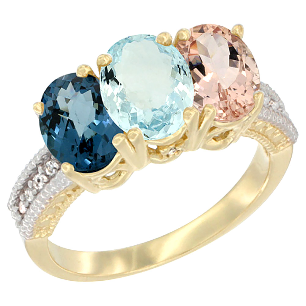 14K Yellow Gold Natural London Blue Topaz, Aquamarine & Morganite Ring 3-Stone 7x5 mm Oval Diamond Accent, sizes 5 - 10