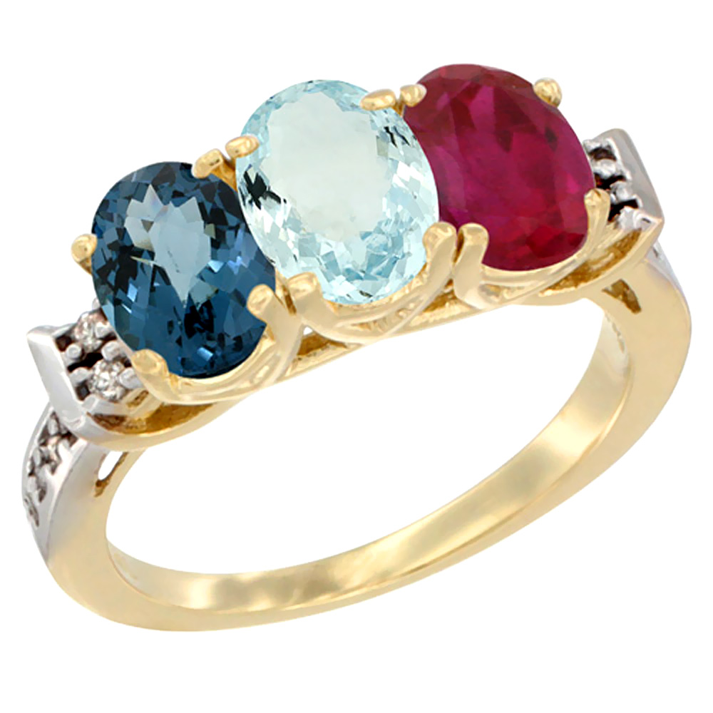 14K Yellow Gold Natural London Blue Topaz, Aquamarine & Enhanced Ruby Ring 3-Stone 7x5 mm Oval Diamond Accent, sizes 5 - 10