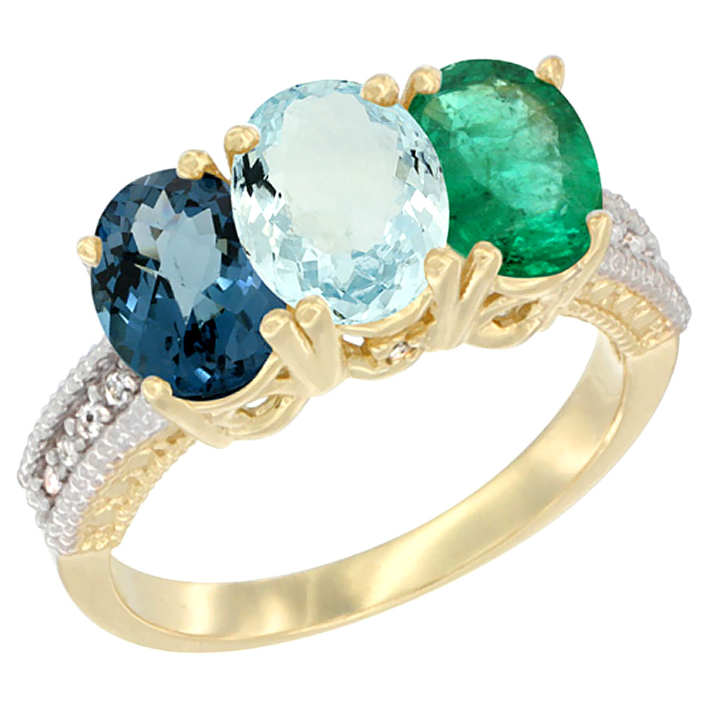14K Yellow Gold Natural London Blue Topaz, Aquamarine & Emerald Ring 3-Stone 7x5 mm Oval Diamond Accent, sizes 5 - 10