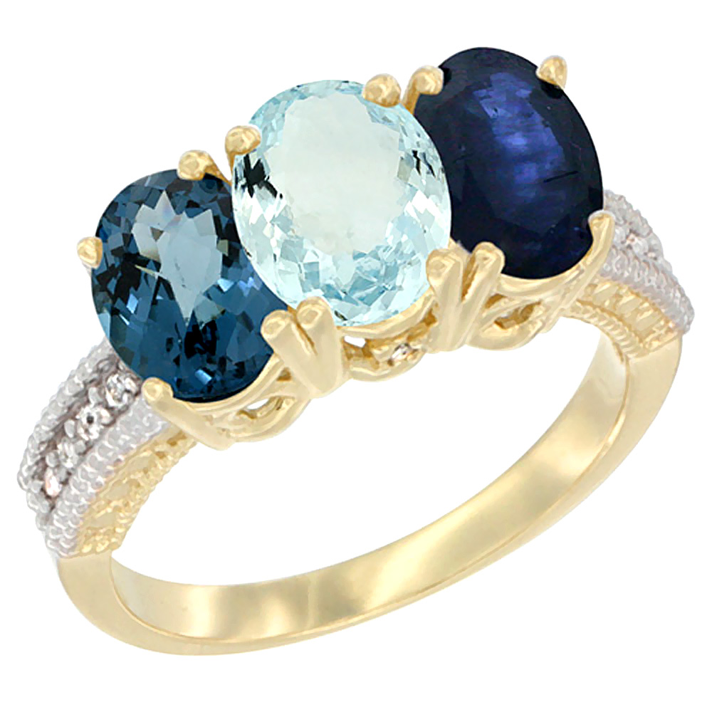 14K Yellow Gold Natural London Blue Topaz, Aquamarine & Blue Sapphire Ring 3-Stone 7x5 mm Oval Diamond Accent, sizes 5 - 10