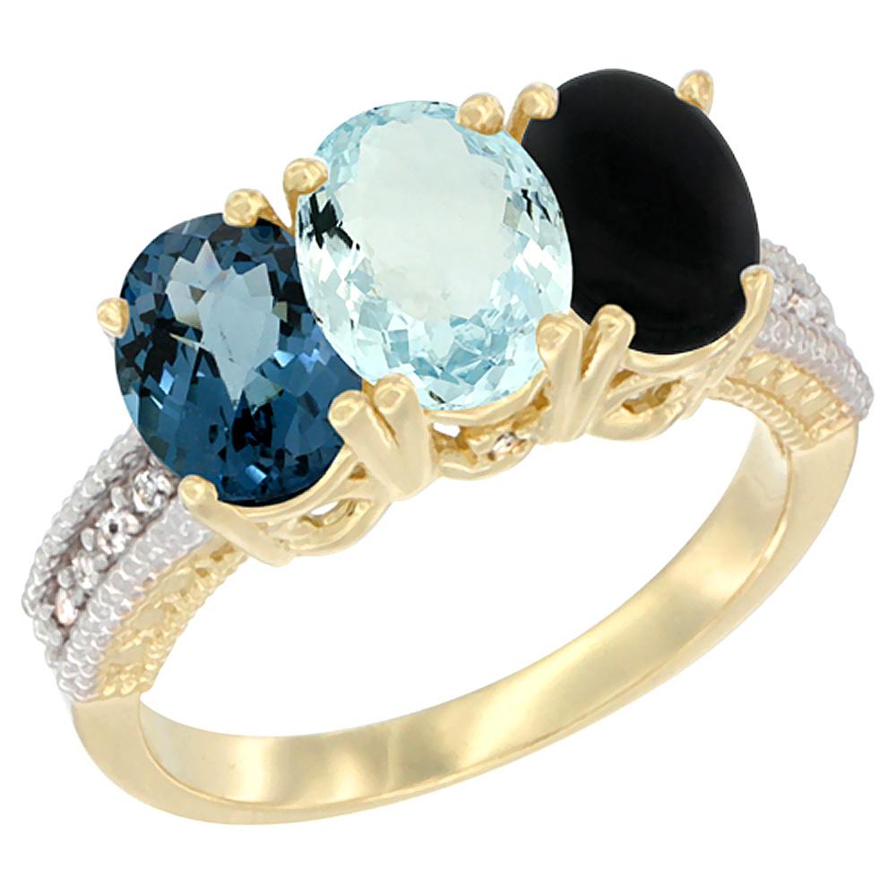 14K Yellow Gold Natural London Blue Topaz, Aquamarine & Black Onyx Ring 3-Stone 7x5 mm Oval Diamond Accent, sizes 5 - 10