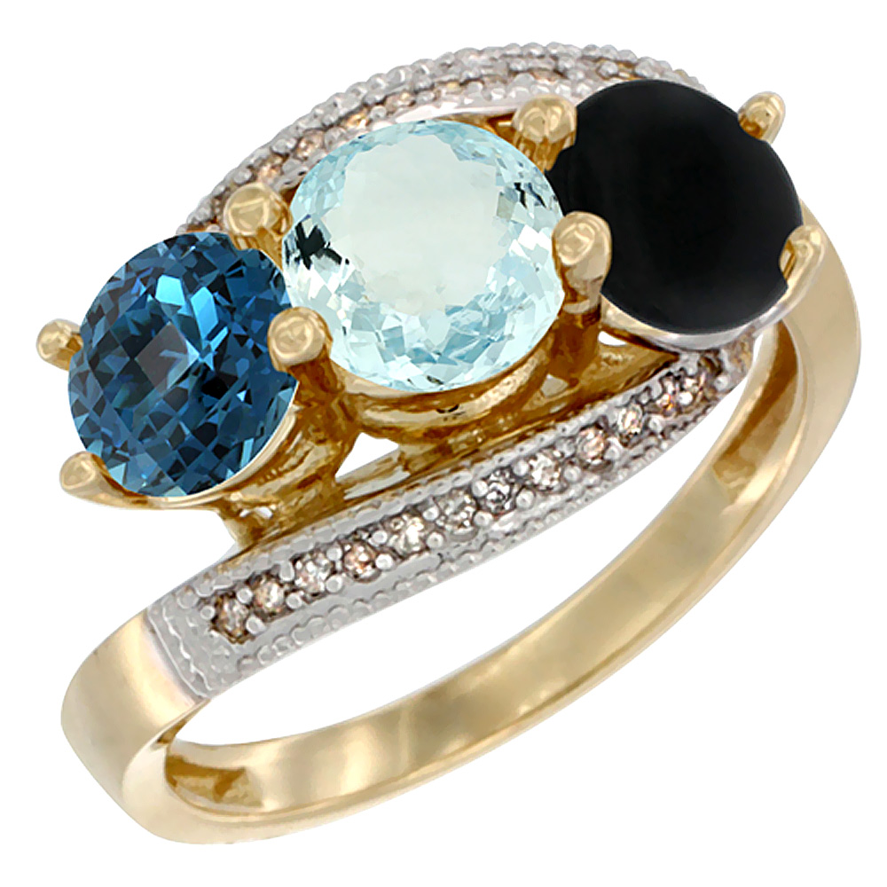 14K Yellow Gold Natural London Blue Topaz, Aquamarine & Black Onyx 3 stone Ring Round 6mm Diamond Accent, sizes 5 - 10