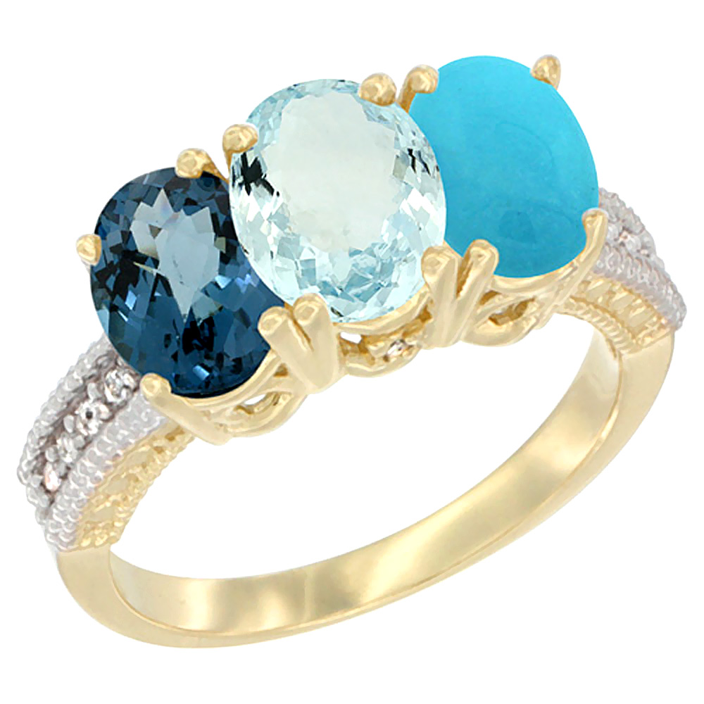 14K Yellow Gold Natural London Blue Topaz, Aquamarine & Turquoise Ring 3-Stone 7x5 mm Oval Diamond Accent, sizes 5 - 10