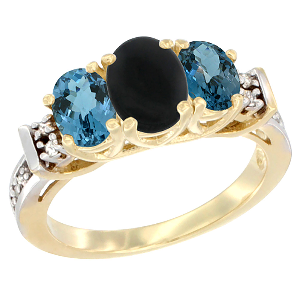 10K Yellow Gold Natural Black Onyx & London Blue Ring 3-Stone Oval Diamond Accent