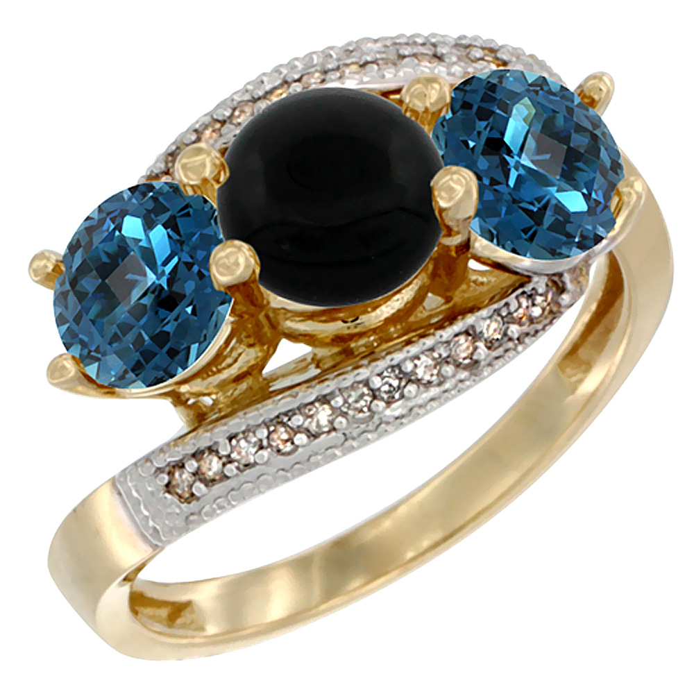 10K Yellow Gold Natural Black Onyx & London Blue Topaz Sides 3 stone Ring Round 6mm Diamond Accent, sizes 5 - 10