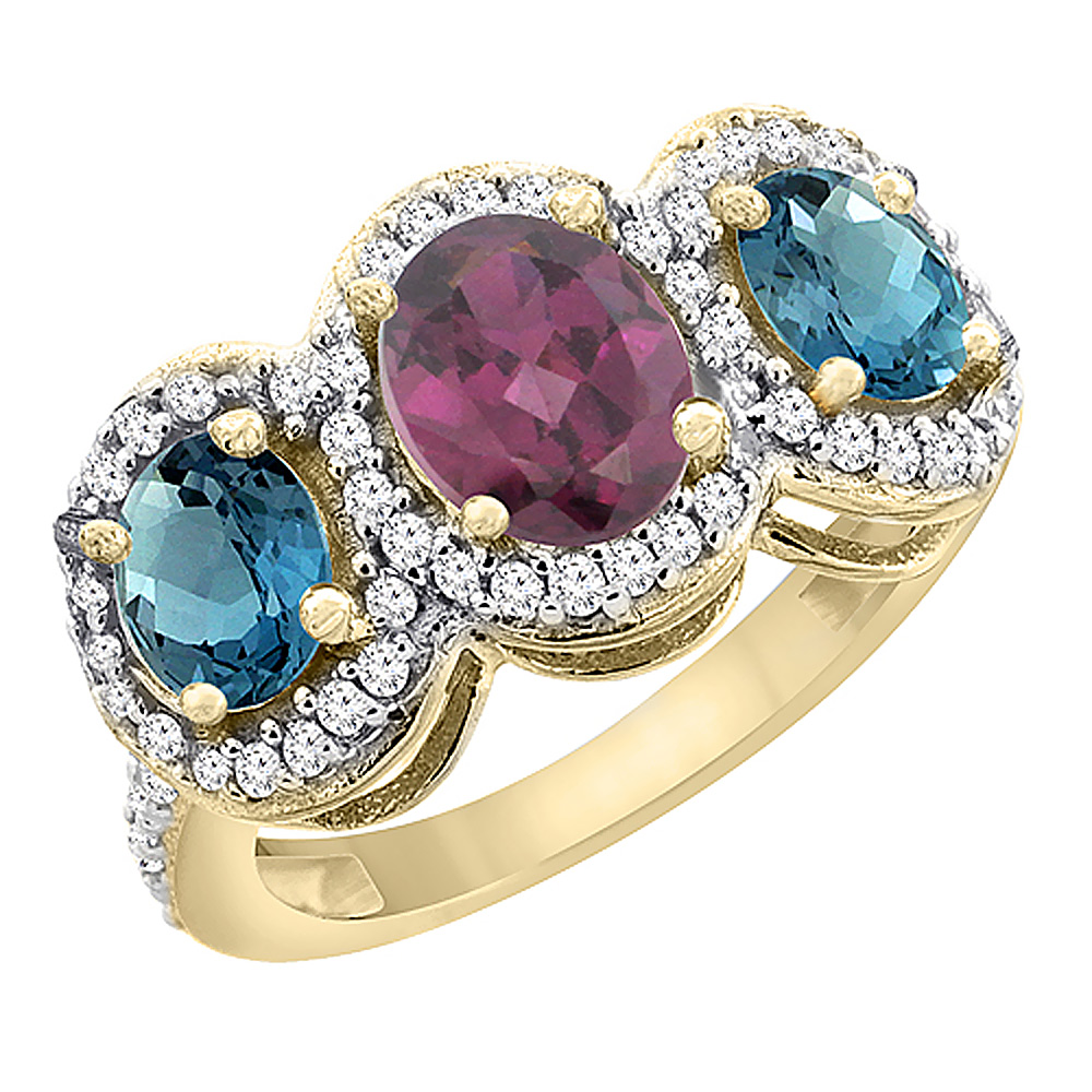 14K Yellow Gold Natural Rhodolite & London Blue Topaz 3-Stone Ring Oval Diamond Accent, sizes 5 - 10