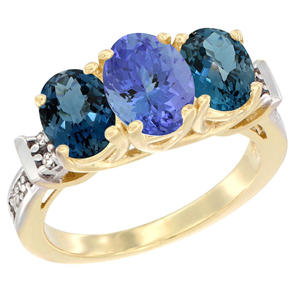 14K Yellow Gold Natural Tanzanite & London Blue Topaz Sides Ring 3-Stone Oval Diamond Accent, sizes 5 - 10