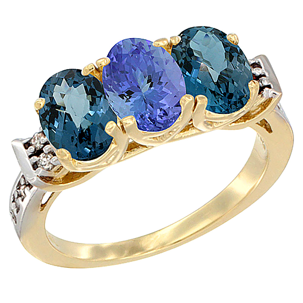 14K Yellow Gold Natural Tanzanite & London Blue Topaz Sides Ring 3-Stone 7x5 mm Oval Diamond Accent, sizes 5 - 10