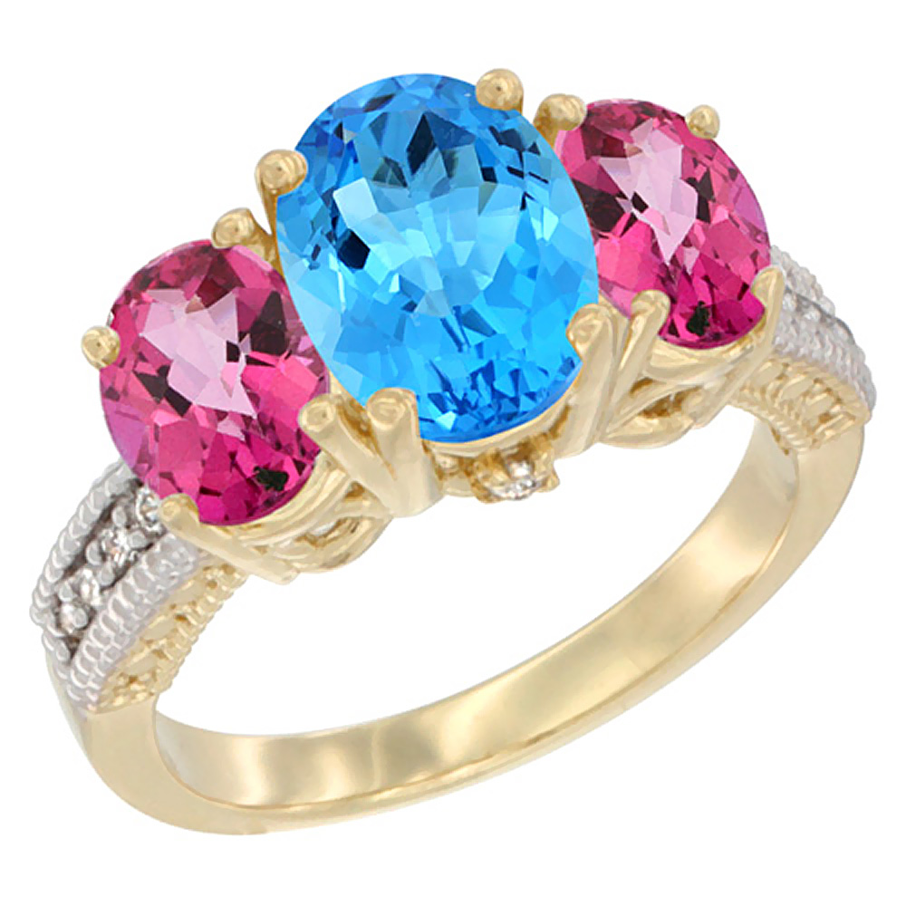 14K Yellow Gold Natural Swiss Blue Topaz Ring Ladies 3-Stone Oval 8x6mm with Pink Topaz Sides Diamond Accent, sizes 5 - 10