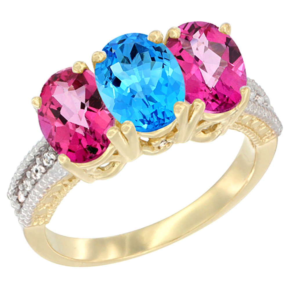 14K Yellow Gold Natural Swiss Blue Topaz & Pink Topaz Sides Ring 3-Stone 7x5 mm Oval Diamond Accent, sizes 5 - 10