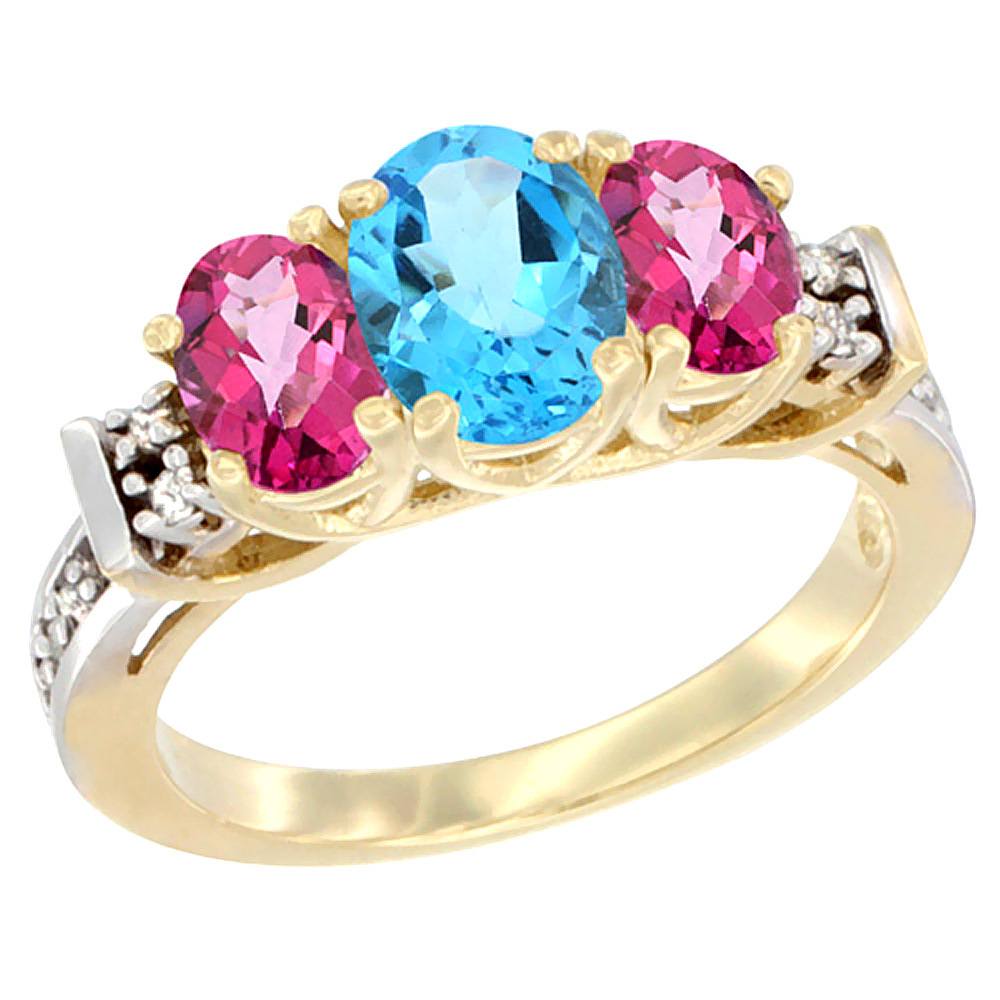 14K Yellow Gold Natural Swiss Blue Topaz & Pink Topaz Ring 3-Stone Oval Diamond Accent