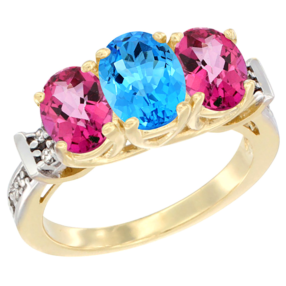 14K Yellow Gold Natural Swiss Blue Topaz & Pink Topaz Sides Ring 3-Stone Oval Diamond Accent, sizes 5 - 10