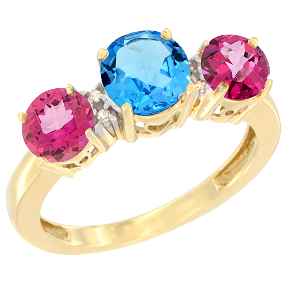 14K Yellow Gold Round 3-Stone Natural Swiss Blue Topaz Ring & Pink Topaz Sides Diamond Accent, sizes 5 - 10