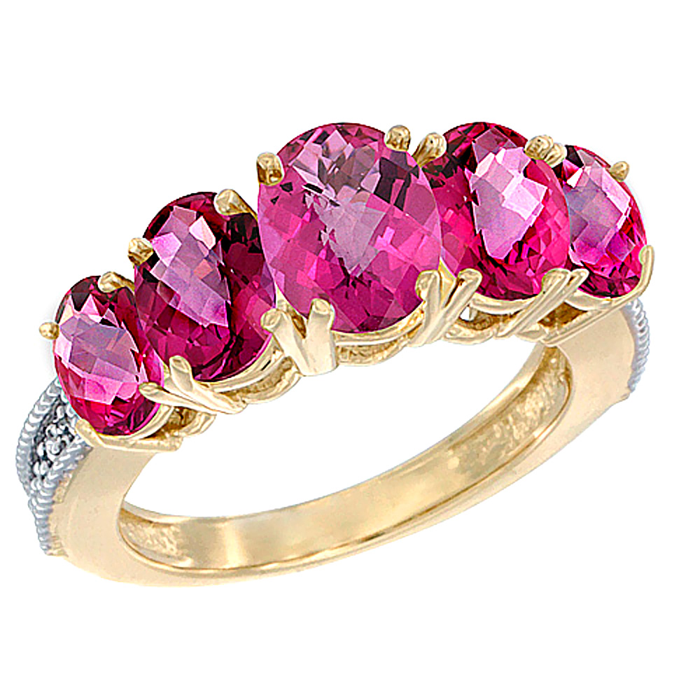 10K Yellow Gold Diamond Natural Pink Topaz Ring 5-stone Oval 8x6 Ctr,7x5,6x4 sides, sizes 5 - 10
