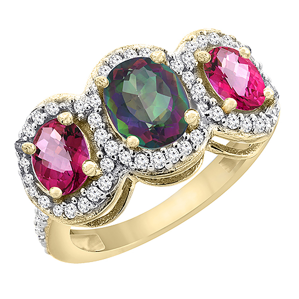 14K Yellow Gold Natural Mystic Topaz & Pink Topaz 3-Stone Ring Oval Diamond Accent, sizes 5 - 10